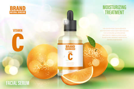 Luxury cosmetic poster ad. Realistic glass serum Bottle on bokeh background with vitamin C and orange. Face skin care banner. Realistic 3d illustration.