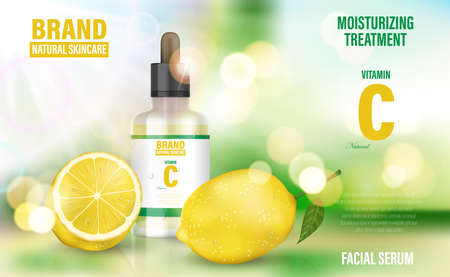 Cosmetic poster ad. Realistic glass jar serum on bokeh background with vitamin C and lemon. Face skin care banner. Realistic 3d illustration. Imagens - 155869471