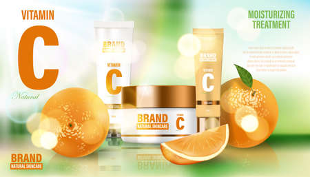 Cosmetic poster ad. Realistic glass jar on bokeh background with oranges and green leaves. Face cream, body wash, lotion, deodorant, cosmetic bottle template. 3d illustration