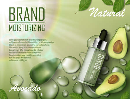 Avocado beauty cosmetics oil ad. Organic essence bottle mockup laying on watery green background. Natural avocado skin care cosmetic. Realistic 3d vector