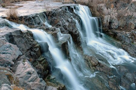 falling tide: Karachunovsky falls, big, Krivoi Rog, Ukraine.                                 Stock Photo