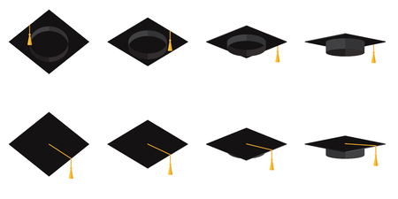 A set of academic cups with tassels in different angles. Vector flat illustration.