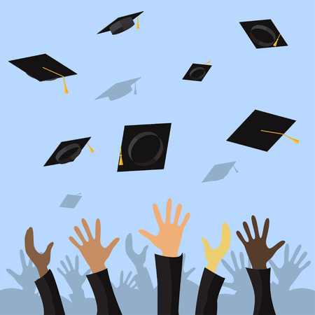 Graduating students of pupil hands throwing graduation caps in the air, vector flat illustration Illusztráció