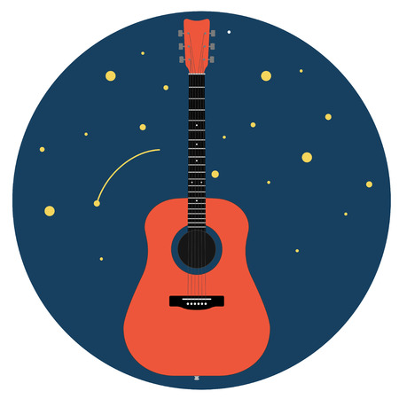 acoustic guitar against the starry sky isolated on white background. Vector illustration.  イラスト・ベクター素材