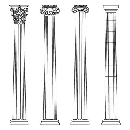 Un insieme di antiche colonne greche e storiche con capitelli ionici, dorici e corinzi. Illustrazione di linea del vettore.
