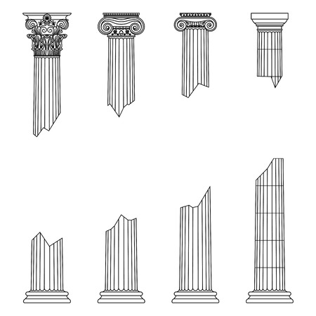 destroyed historic Greek antique columns with capitals of different orders and with place for text vector illustration