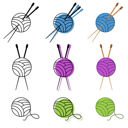 knitting icon set vector in different colors. vector illustration