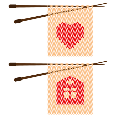 Pattern in the form of hearts and home knitting needles. Vector illustration