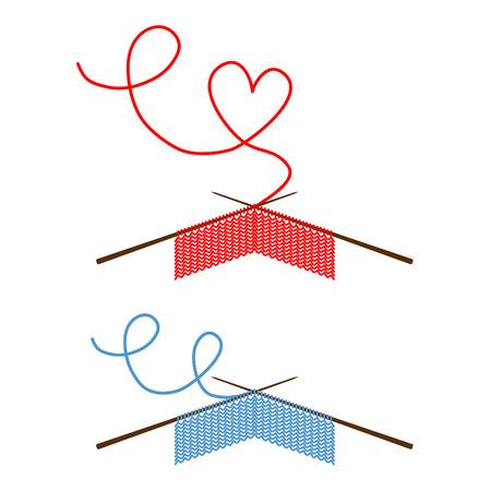 Projet de tricot en cours Un morceau de tricot avec des aiguilles à tricoter Illustration vectorielle