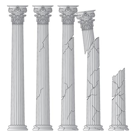 zerstörte historische griechische antike Säulen mit Kapitellen des Korinvinsky-Haftbefehls. vektorlinie illustration Vektorgrafik