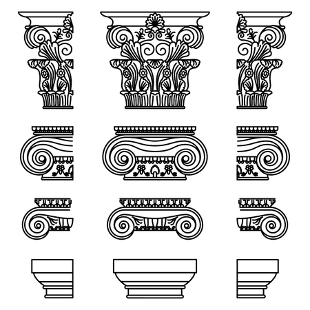 A set of antique Greek historical capitals for Calon: Ionic, Doric, and Corinthian capitals with a cut element scheme Vector line illustration