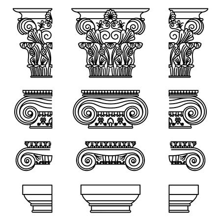 Un ensemble de chapiteaux historiques grecs antiques pour Calon : chapiteaux ioniques, doriques et corinthiens avec un schéma d'éléments coupés Illustration vectorielle