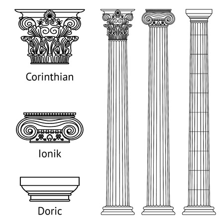 A set of antique Greek historical columns and capitals for them: the Ionic, Doric and Corinthian capitals. Vector line illustration