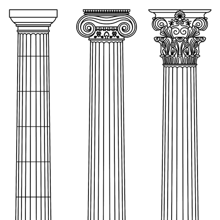 A set of antique Greek and historical columns with Ionic, Doric and Corinthian capitals. Vector line illustration.