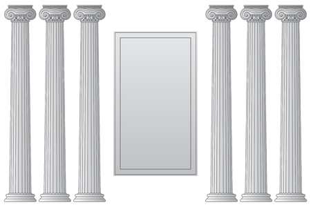Template with historical antique greek columns with place for text. Vector line illustration