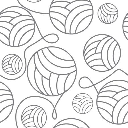 nahtlose Knäuel aus Garn und Stricknadeln. nahtlose Hintergrundhandarbeit, Vektorillustration Vektorgrafik