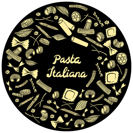 Round frame with italian macaroni of different kinds. light yellow coloured hand draw on black background. Vector illustration