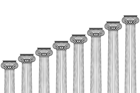 a series of Greek, antique, historical colonnades with Ionian capitals and a place for text on a white background Vettoriali