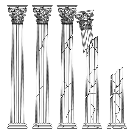 colonne antiche greche storiche in rovina con capitelli del mandato Korinvinsky. illustrazione della linea vettoriale Vettoriali
