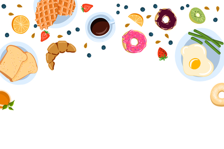 Still life with breakfast in a flat doodle style, top view. And with place for text vector illustration