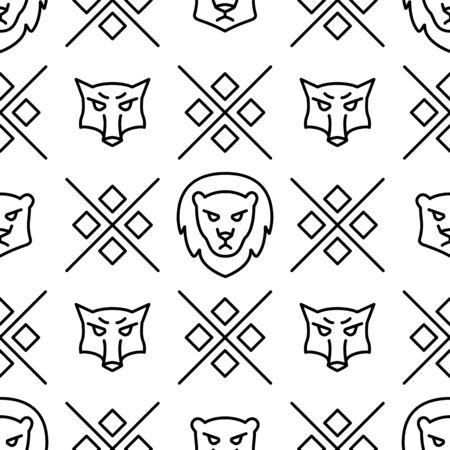 Linear seamless pattern with wild wolves and lions Vector line illustration Vektoros illusztráció