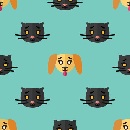 Seamless pattern for textiles with cute black kittens and yellow puppies on a light blue background. Vector flat