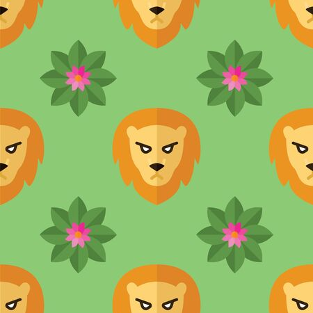 Seamless pattern for textiles with lions and flowers on a light, green background. Vector illustration in flat style.