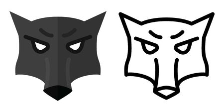 Set of icons - logos in linear and flat style The head of a wolf. Vector illustration Foto de archivo - 126179029