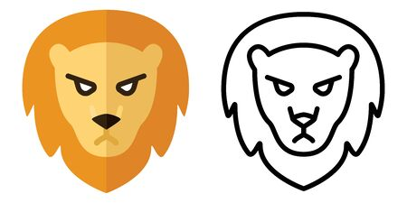 Set of icons - logos in linear and flat style. The head of a lion. Vector illustration Logó