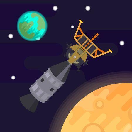 the first man on the moon, apollo 11. Vector flat illustration. Illustration