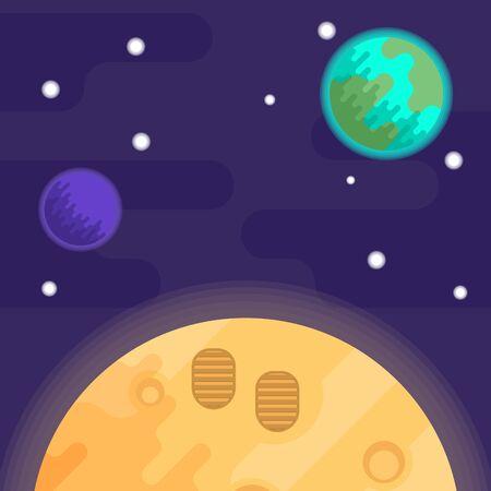 the first man on the moon, apollo 11. Vector flat illustration. Vector Illustration