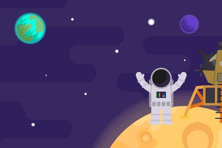 the first man on the moon, apollo 11. Vector flat illustration.