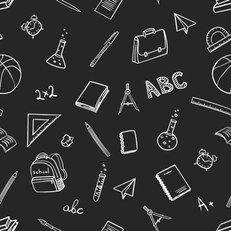 seamless pattern with school elements on return to school the first of september in doodle hand drawing style on black background. Vector illustration