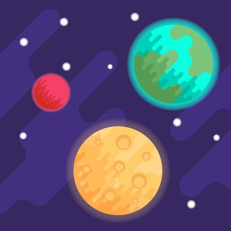 Planets Earth and Mars, as well as the Moon against the background of space and stars. Vector flat illustration. Illustration