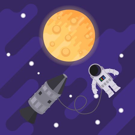 Astronaut and rocket in the open space on the background of the moon. Vector flat illustration.