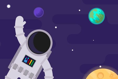 Astronaut against the background of space and planets. Vector flat illustration. Vector Illustration