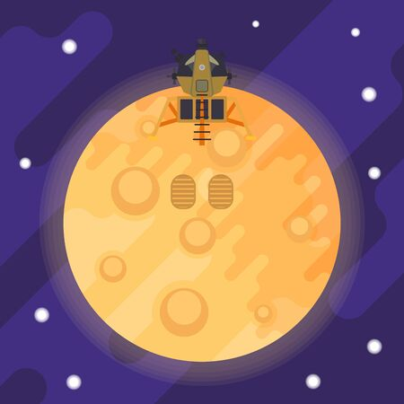Lunar module and footprints of the first man on the moon. Vector flat illustration. Vector Illustration