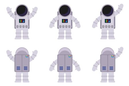 Isolated images of an astronaut in different poses, from the front and back. Vector flat illustration.