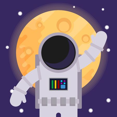 Astronaut with hand raised in greeting, against the backdrop of the moon.
