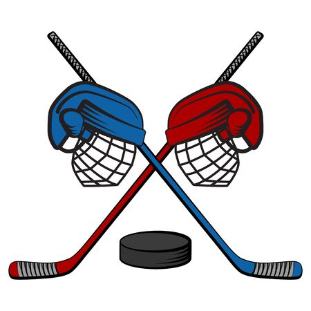 The logo of the hockey confrontation, with clubs, helmets and puck. Two teams. Vector cartoon illustration. Logó