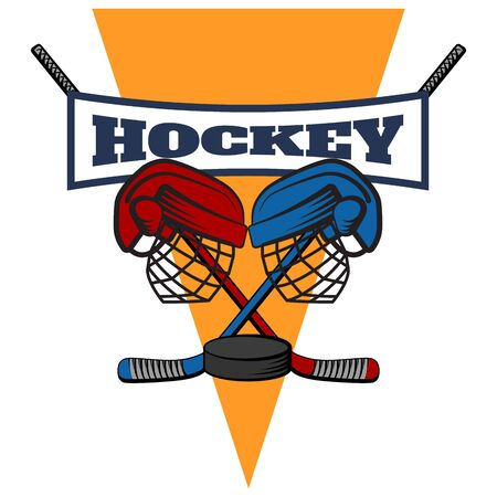 The logo of the hockey confrontation, with clubs, helmets and puck. Two teams. Vector cartoon illustration.