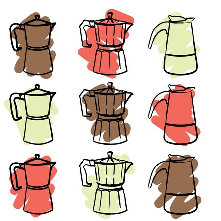 a set of nine colorful geyser Italian coffee makers in a doodle style. Vector hand drawn illustration Vectores
