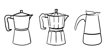 a set of three different Italian geyser doodle coffee makers. Vector hand drawn illustration
