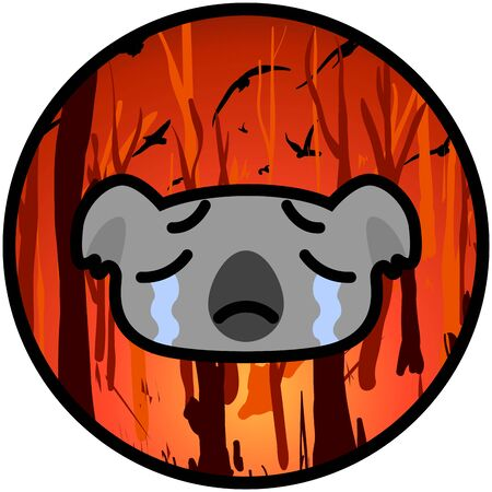 weeping koala icon on a burning Australian forest background. Vector cartoon illustration