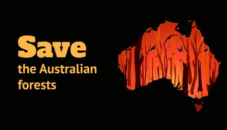 Banner with place for text to help Australia from forest fires. Contour of Australia with a burning forest. Vector cartoon illustration.