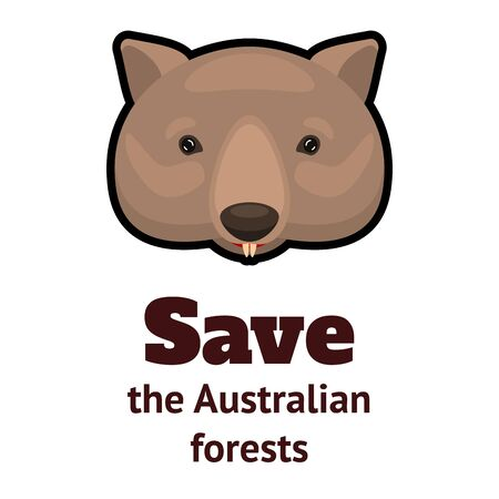 weeping wombat icon and the inscription Save the Australian Forests. Cartoon vector illustration. Illustration