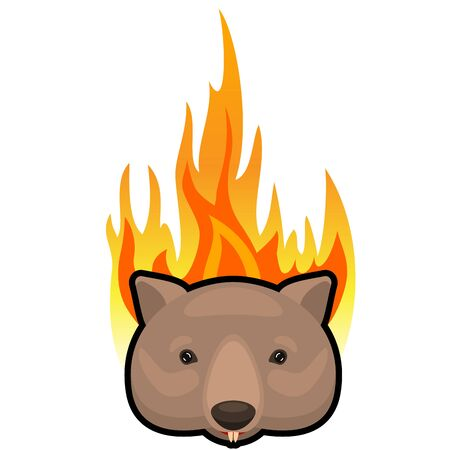 weeping wombat icon on fire background. Cartoon vector illustration.