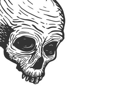 Banner template with skull of a dead man and place for text on a white background. Vector hand drawing illustration Vetores