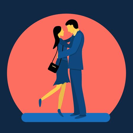 A couple of lovely lovers. Flat vector illustration in trendy colors. Vektorové ilustrace