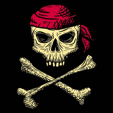 Hand drawn skull of a dead man in a red bandana, with crossbones, on a black background. Vector illustration